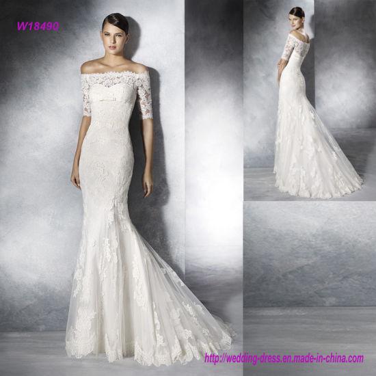 437b2a6c6b9d Elegant off Shoulder Trasparent Lace Back and Half Sleeves Wedding Dress