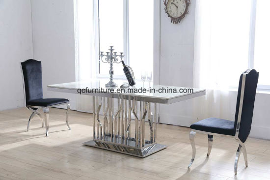 Marble Modern 6 Seaters Stainless Steel Dining Table And Chair