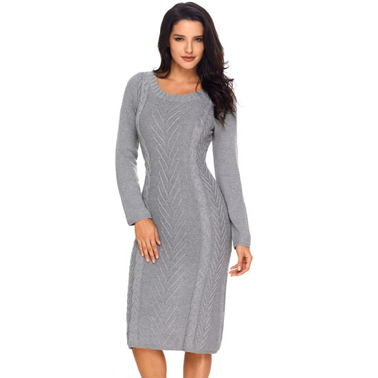 Hot Sale Gray Women Ladies Hand Knitted Sweater Dress pictures & photos