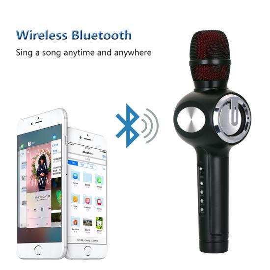 Duet Version Wireless Karaoke Microphone Handheld Mini Stereo Speaker with  Voice Changer