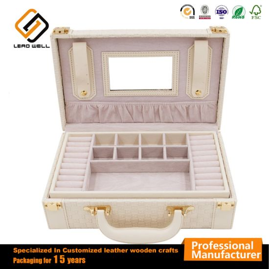 Multi Functional Two-Layer Woven Leather Jewelry Box Organizer Suitcase pictures & photos