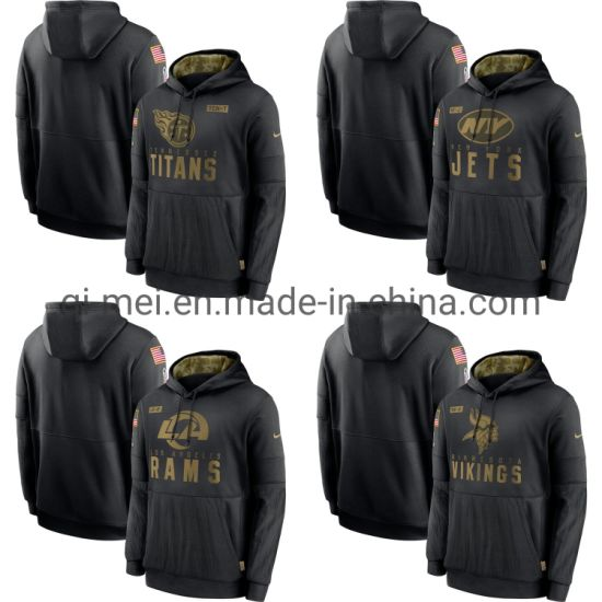 2020 Salute to Service Titans Jets Rams Vikings Black Sideline Pullovers Hoodies