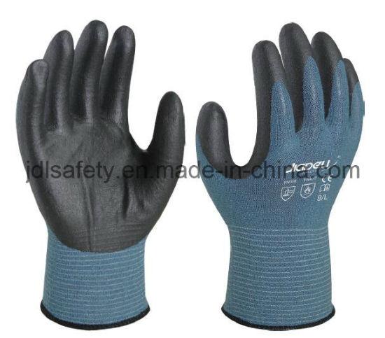 Seamless Knit Coated Nice Grip 18 Gauge Anti-Cut Work Glove with Foam Nitrile Coated
