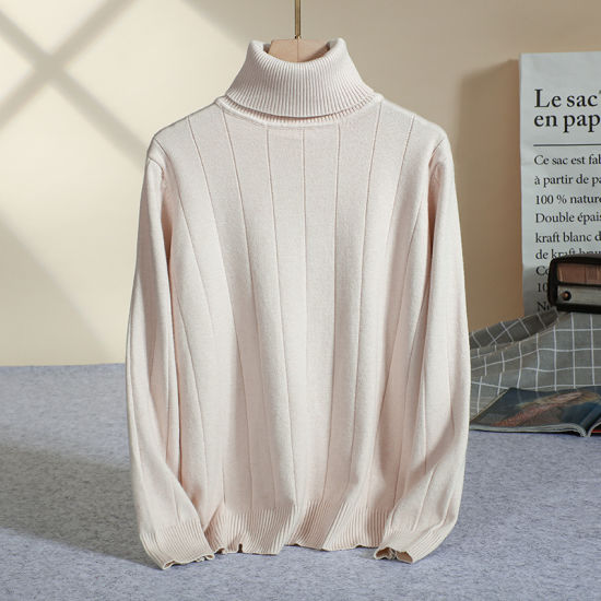 Winter Ladies Pullover Heather Solid Color Casual Knitted Shirt Turtleneck Women Sweaters