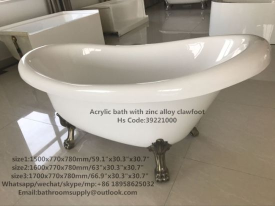"1700mm 67"" Acrylic Slipper Clawfoot Tub - Lion Paw Feet pictures & photos"