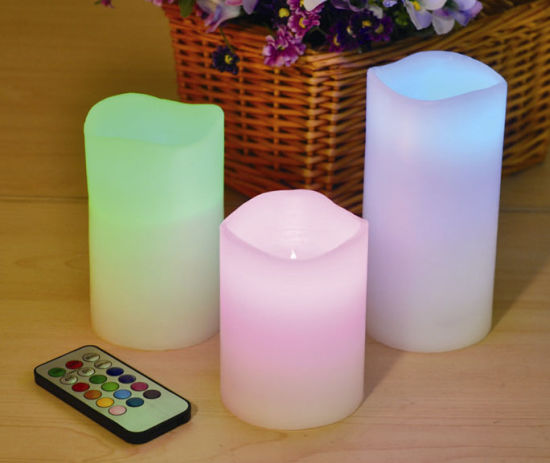3pcs LED Electric Candle Colorful Pillar Candles Remote Control Flameless Light
