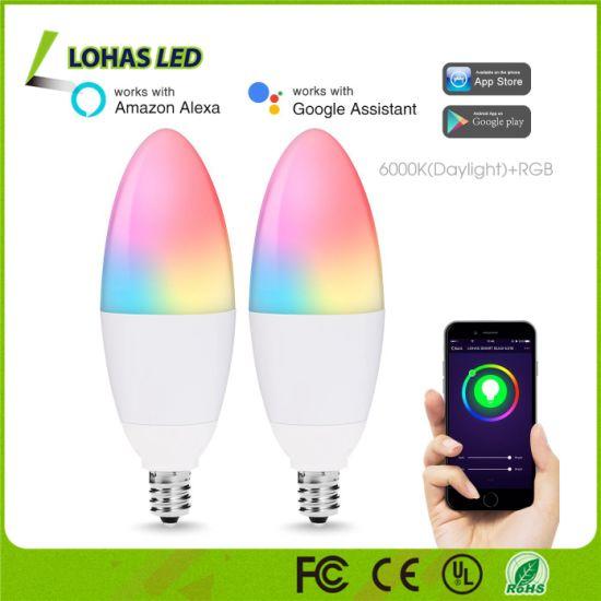 Zhongshan Lighting Manufacturer RGB 5W E12 C35 WiFi Smart LED Candle Light  Bulb Compatible With Tuya APP Amazon Alexa