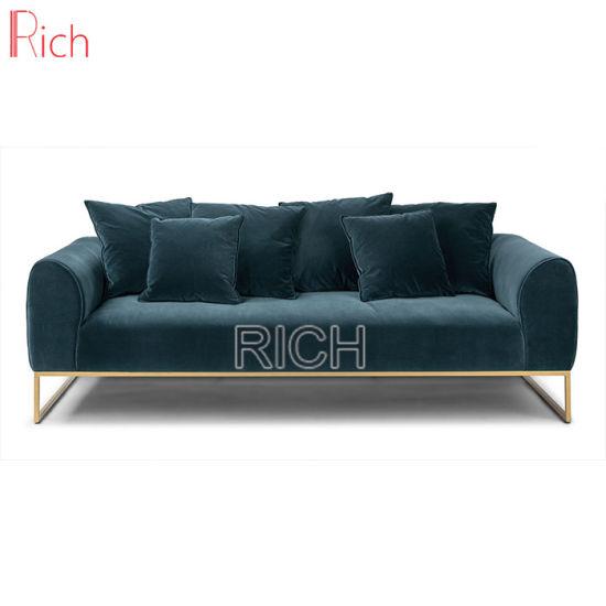 Metal Frame Blue Sectional Lounge Modern Sofa Set