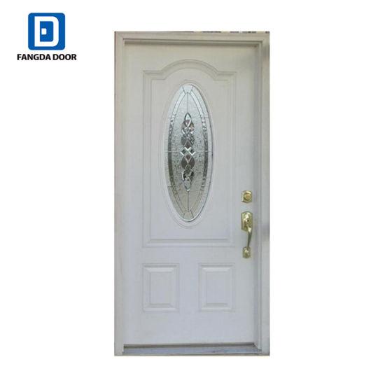 8 Panel Fiberglass Door Slab With Center Arch Glass 8*42rt