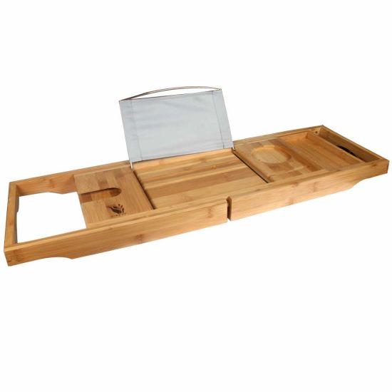 China Bamboo Bathtub Tray Caddy with Wine Glass Holder/Reading Rack ...