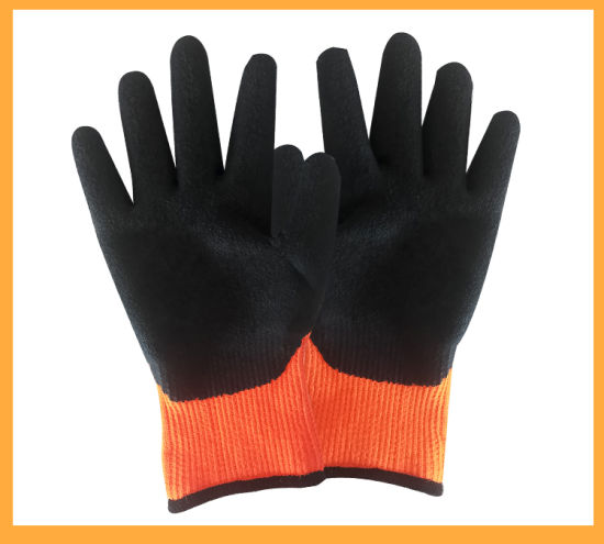 Hot-Sale 7g Orange Nylon Liner Black Crinkle Latex Coated Labor Work Safety Glove with Wear Resistance and Good Grip