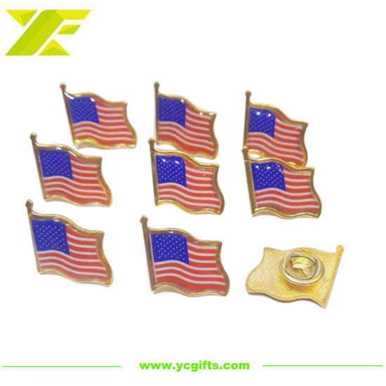 Factory Customized Metal Soft Enamel Flag Badge Gold Finished Military Anniversary Epoxy Craft with Butterfly Clasp (BG69)
