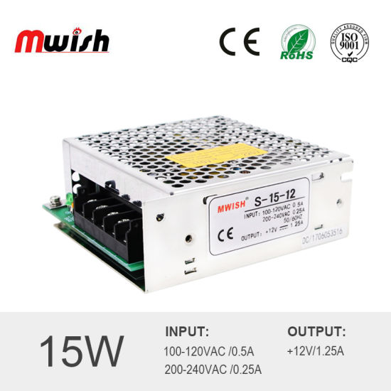 China Small Size Switching Power Supply 15W 5V 12V 24V