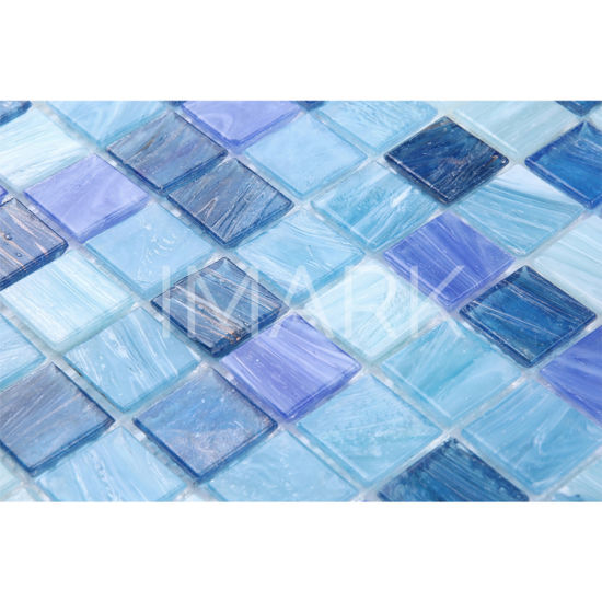 Remarkable Blue Mixed Iridescent Glass Mosaic For Kitchen Backsplash Tiles Home Interior And Landscaping Synyenasavecom