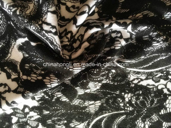 Aop R/Sp Single Jersey Knitting Fabric with Lace Printing