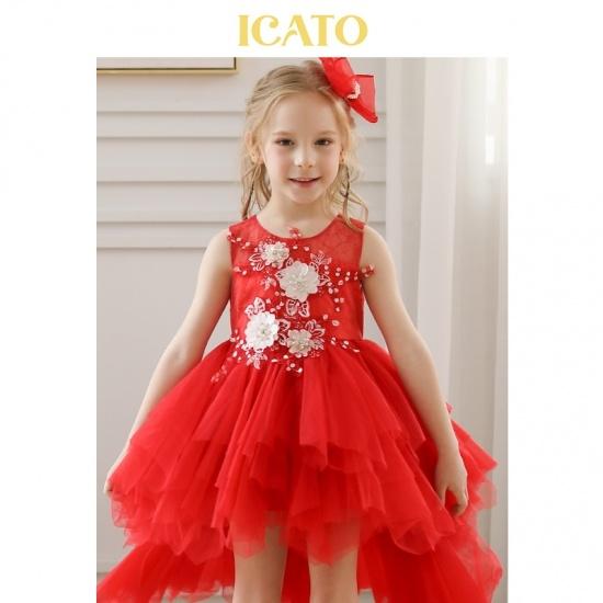 Red Flower Girls Party Dresses Princess Tutu Dresses for Kids