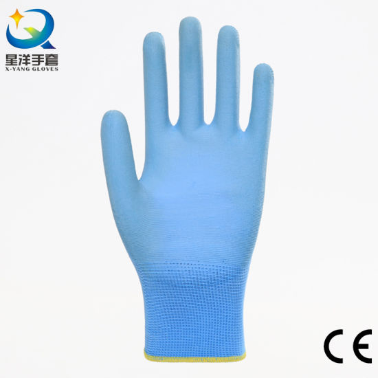 Safety Work Anti-Electrostatic Liner with PU Top Fit Coated Rubber Gloves