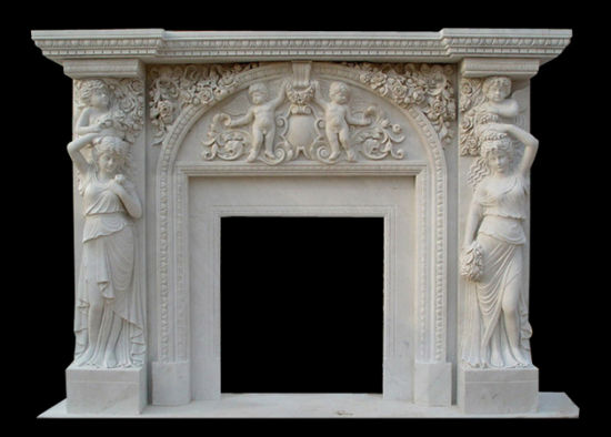 Angel Carving Stone Fireplace