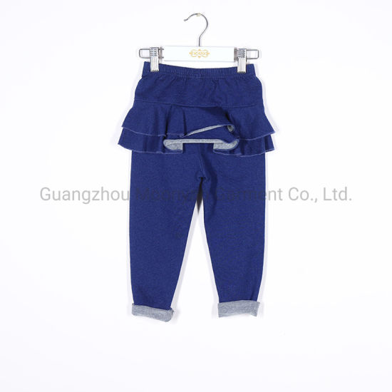 Baby Girls Jean Leggings with Skirt Ruffles for Winter Kids Wholesale Clothing