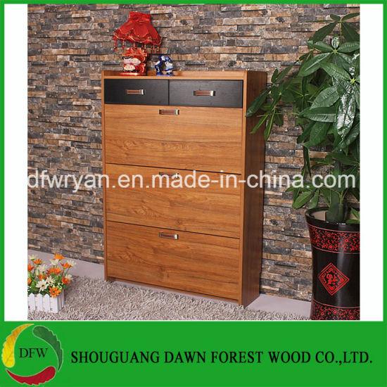 Hot Sale Melamine 3 Drop Door Wooden Shoe Cabinet Furniture
