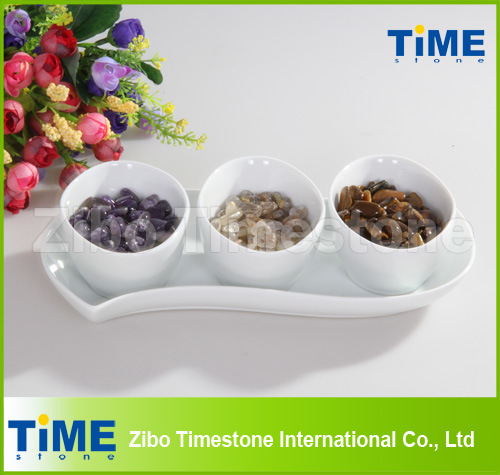 Ceramic White Porcelain Divided Snack Bowl