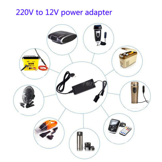 220V to 12V 12A Large Power Car Adapter with European and American Plug pictures & photos
