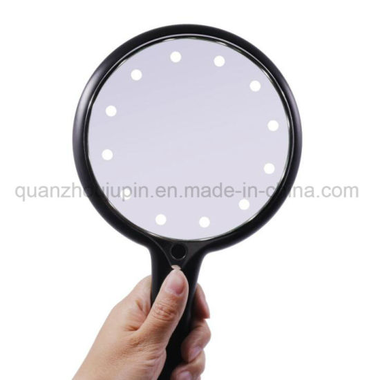 OEM Adjustable LED Plastic Hand Handle Handheld Makeup Cosmetic Mirror pictures & photos