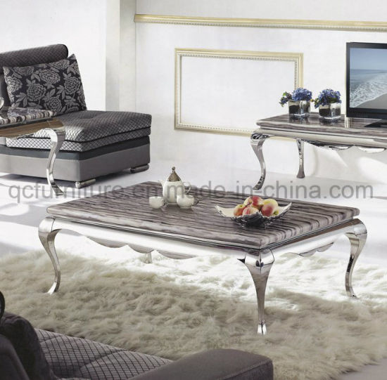 Marble Coffee Table With Silver Legs