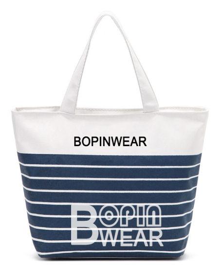 Women Beach Canvas Bag Fashion Color Stripes Printing Handbags Ladies Large  Shoulder Bag 56619559fc