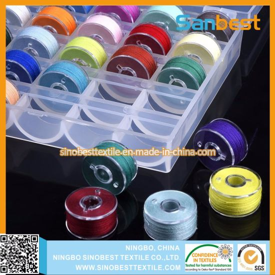 Plastic Sided 70D/2 Polyester Pre-Wound Bobbins Thread for Embroidery pictures & photos