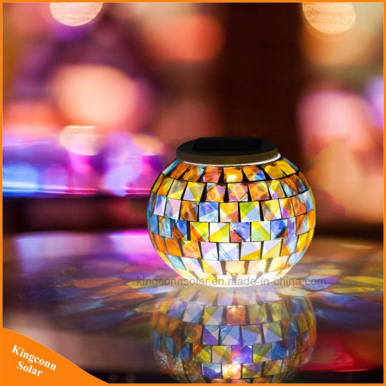 China Solar Powered Mosaic Glass Ball Garden Light Color Changing