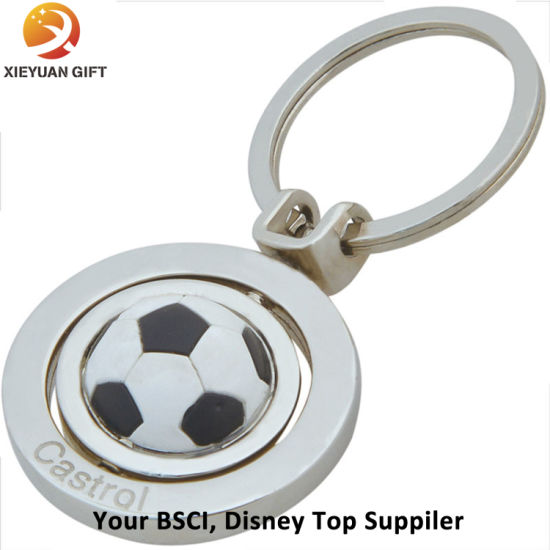 2015 Nickel Plating Custom Football Rotate Keychain