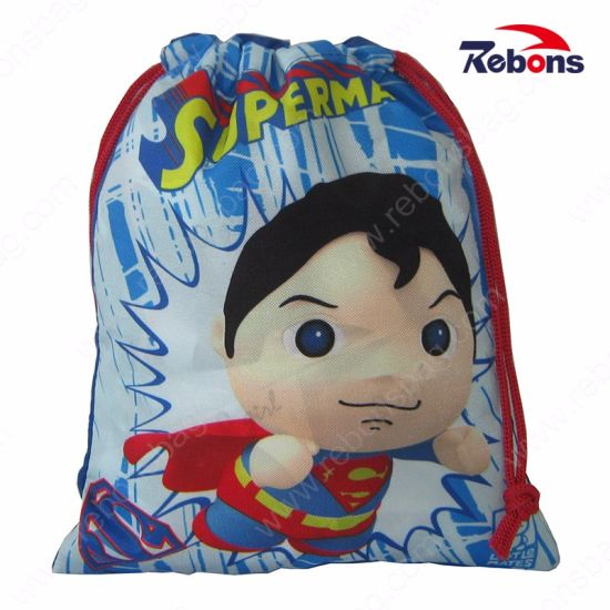 New Factory Price Drawstring Superman Backpacks School Bags for Teenagers