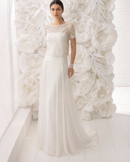 598e3e23581 Short Sleeve Lace Bolero Sheer Tulle Back Chiffon Beach Bridal Wedding Dress