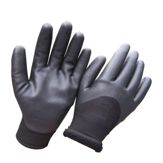Cold Resistant Double Dipped Sandy Nitrile Winter Work Gloves pictures & photos