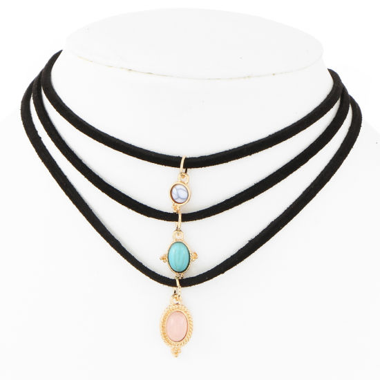 The Wholesale of Vintage Leather Rosin Natural Stone Flannelette Necklace Chain Jewelry Set