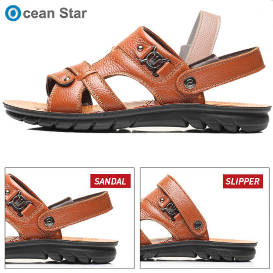 Top Quality Low Price Two Wear Beach Mens Genuine Leather Sandals