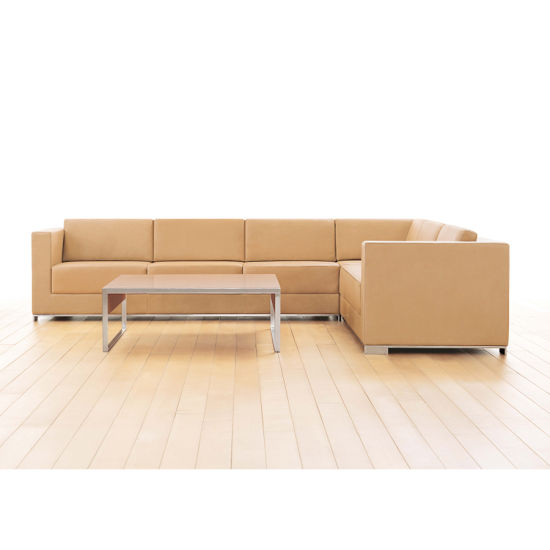 Commercial Office Modern Style With Wooden L Shape Sofa Use In Home And Fabric