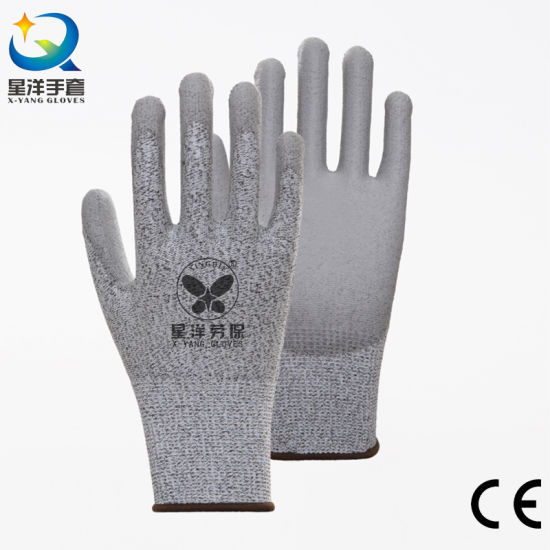 Cut-5 Level 5 Anti Cut Hppe Cut Resistance, PU Coated Safety Protective Work Gloves with CE Certificated