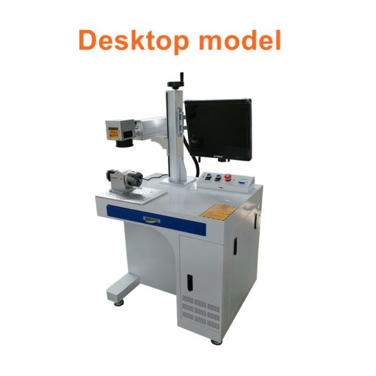 Desktop CNC 20W 30W 50W Metal Fiber Laser Marking Engraving Logo Printing Machine with Optional 3D Autofocus Rotary Axis for Jewelry Plastic Cup Pigeon Ring