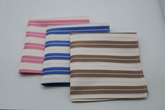 Thin Stripe Design Men's Fashion Silk Jacquared Pocket Square