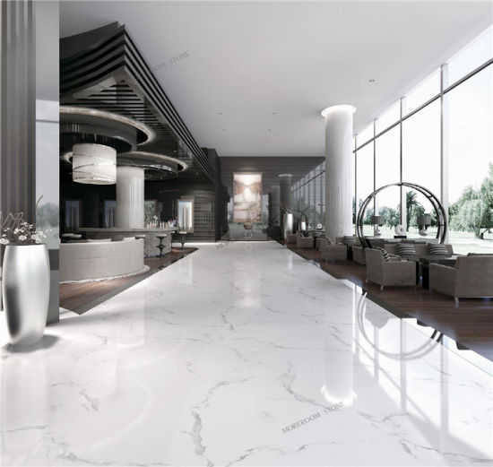 China Foshan Calacatta White Marble Look Porcelain Ceramic Flooring