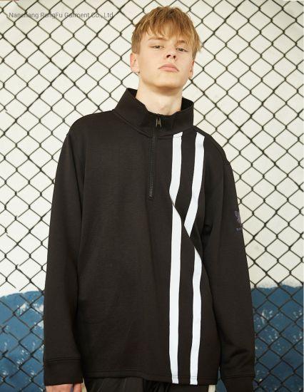 Semi-High Zip Casual Sweatshirt Men's Long Sleeved Striped Print Hoodie Jacket