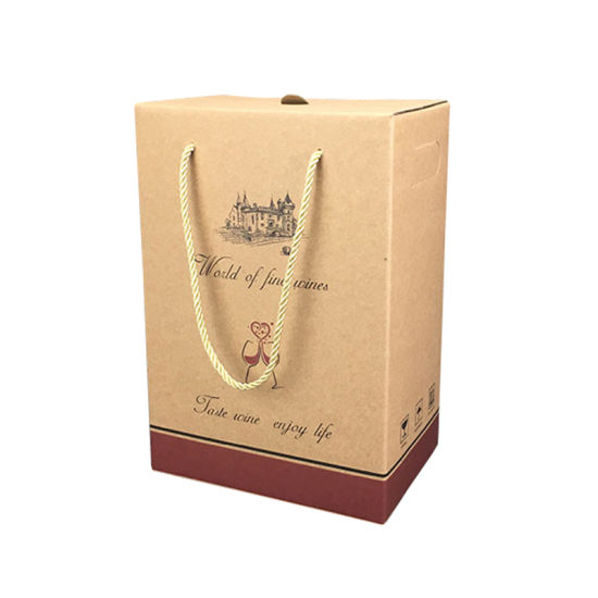 Manufacturer Custom Printed Wine Packaging Corrugated Paper Box with Handle
