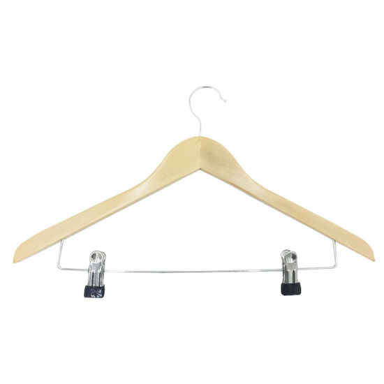High Quality with Logo Printed Hotel Supplies Wooden Material Clothes Hanger for 5star Hotel to Amazon