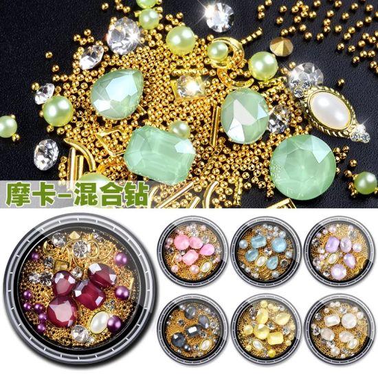 China 3D Mocha Stone Diamond Pearls Bead Mixed Nail Art Decoration ...