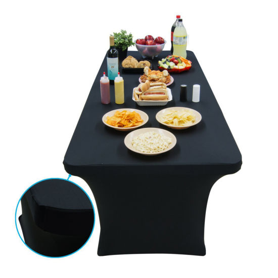 Logo Black Spandex 8 Ft Table Cloths