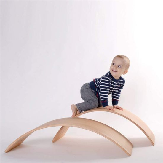 New Wave Wooden Toys Kids Wooden Balance Board Toddler Climbing Toys Indoor Wobble