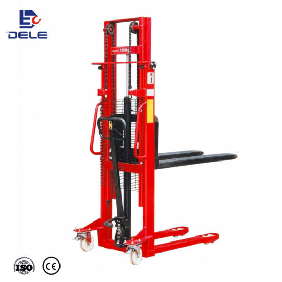 China Factory Hydraulic Lifting Forklift Manual Fork Hand Stacker