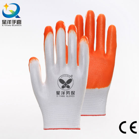 Cheaper Nitrile 13G Polyester Liner with Orange Nitrile Safety Protective Work Gloves